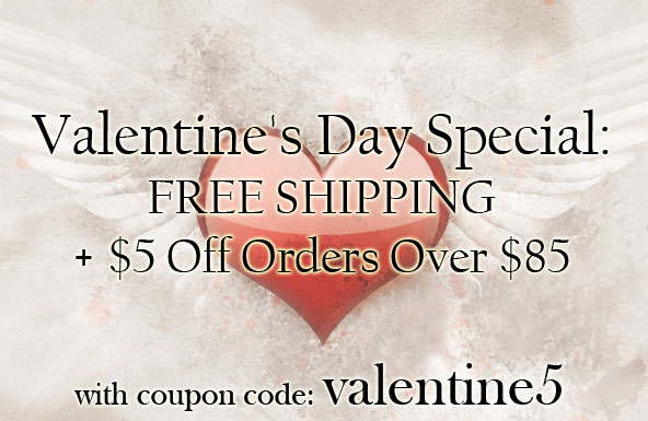Valentines Day Special FREE SHIPPING + 5 Off Orders Over 85